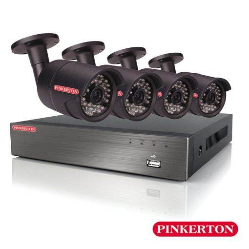 Pinkerton 8CH 1080P HD CCTV Kit & 4 x IP66 Bullet Cameras for Home & Office Security Surveillance