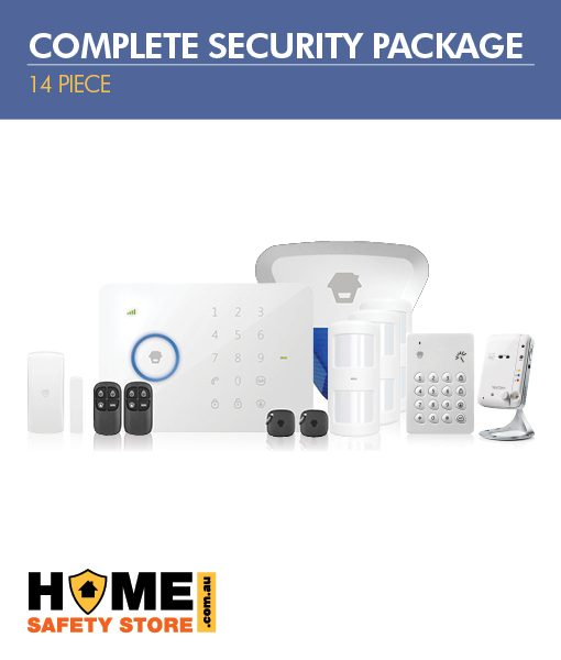14 Piece Complete Wireless Security Package; Wireless 3G Alarm Kit, Pet Immune Wireless Motion Sensors, Wireless External Strobe, Wireless Keypad, Indoor Wifi IP Camera - Home Alarm System