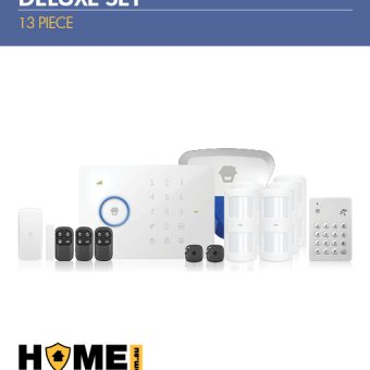 Wireless Alarm Kit 13 Piece Deluxe Set; Wireless 3G Alarm Kit, Control Panel, Pet Immune Wireless Motion Sensors, Wireless Keypad, Wireless Siren Strobe, Wireless Remote Control, RFID Tags