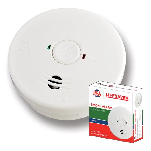 Lifesaver 240VAC Photoelectric Smoke Alarm With Battery Back-up