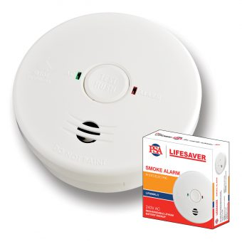 Lifesaver 240VAC Photoelectric Smoke Alarm with Rechargeable Battery